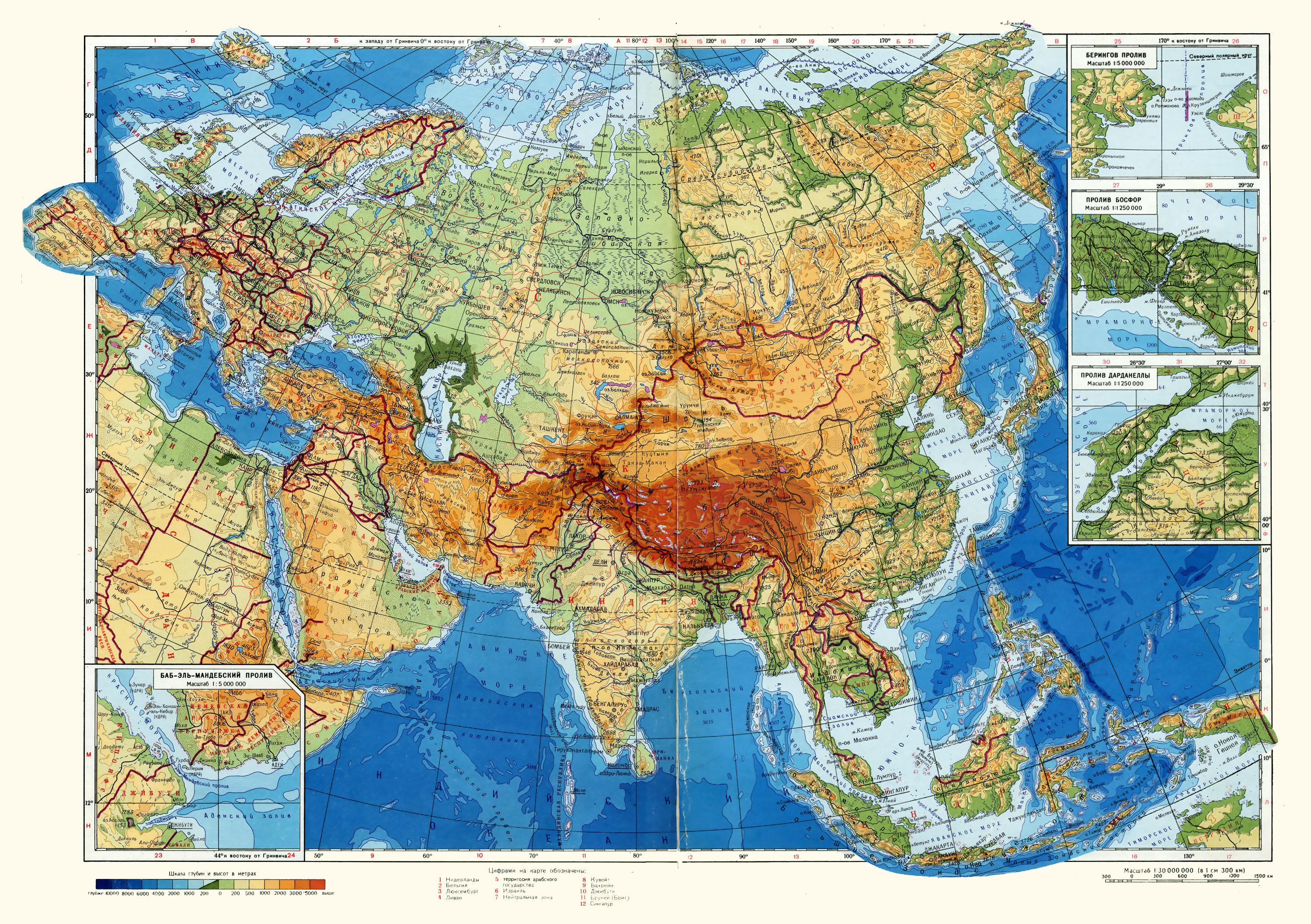 Евразия физическая карта