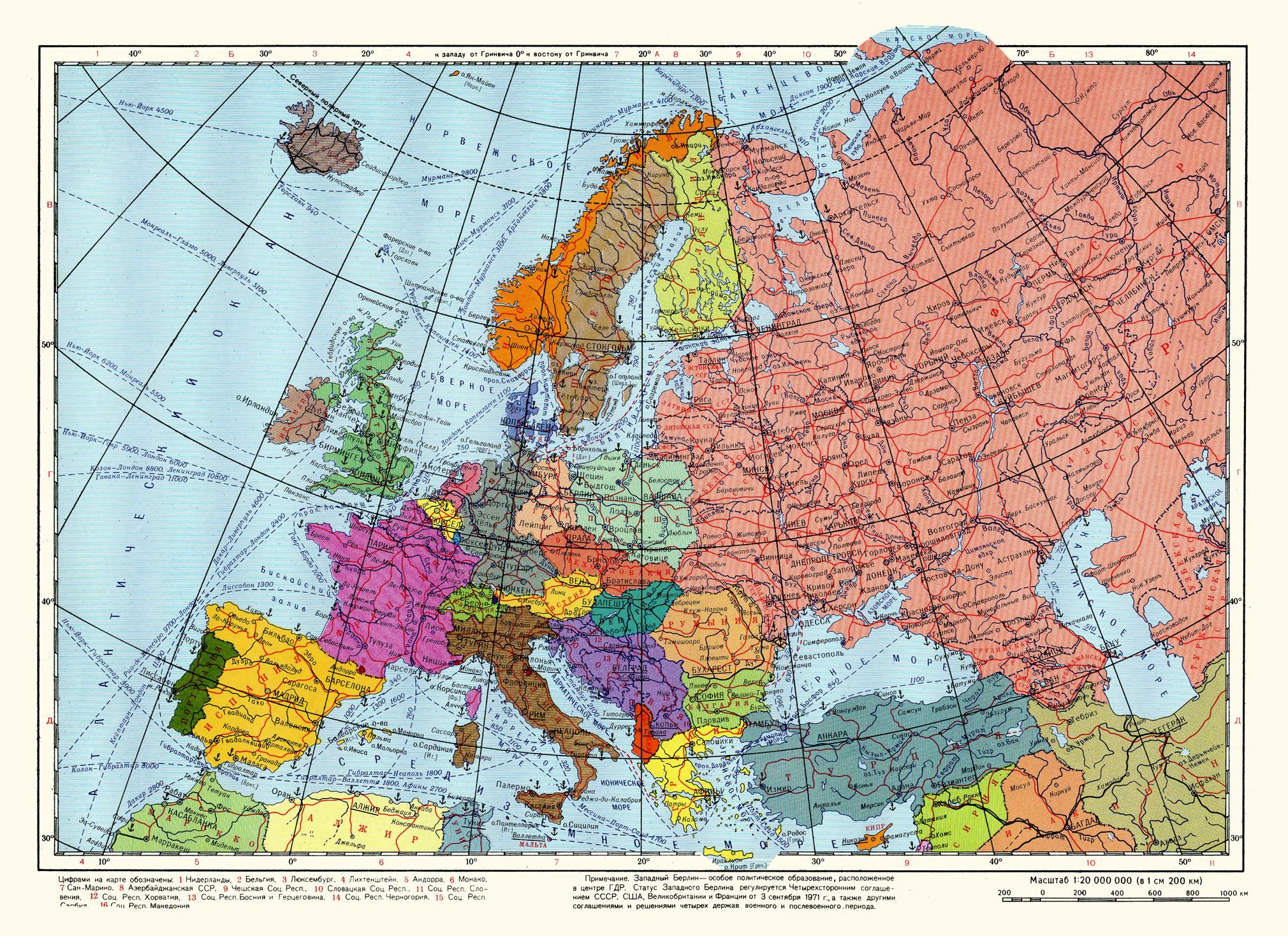 Европа политическая карта