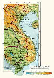 Вьетнам физическая карта