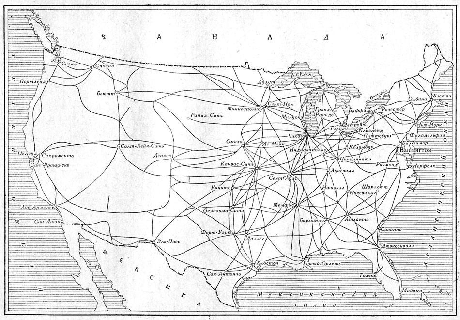 карта железных дорог сша